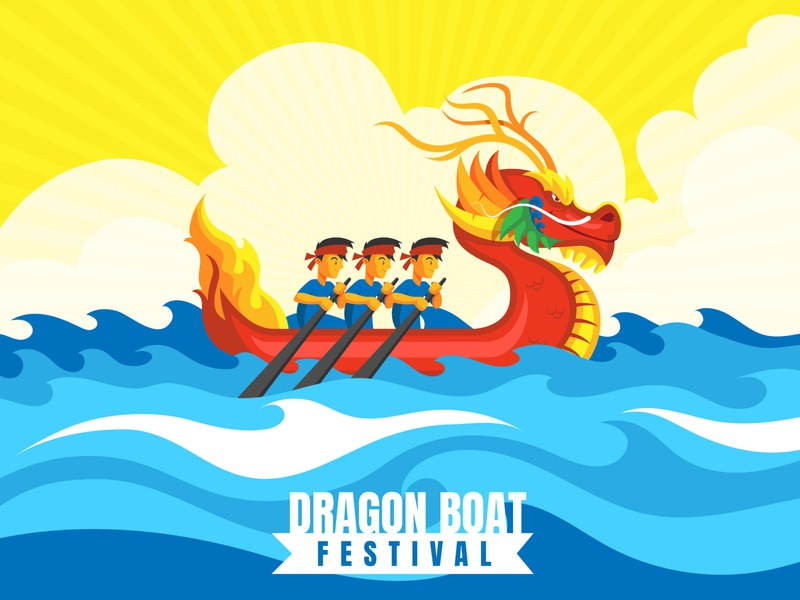 Dragon boat flat illustration characters bacground vibrant abstract flat asia chinese china festival dragonboat illustration boat dragon