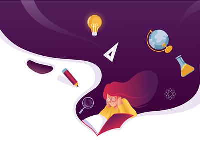Study for future character branding abstract education symbols illustration landing landingpage homepage study