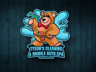 Auto Cleaning logo animals illstration vector teddy teddy bear bear splash water cartoon character service cleaning auto logo mascot