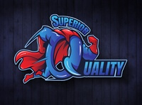 Q letter superhero Logo gradient logo quality mascot letter superhero illustration