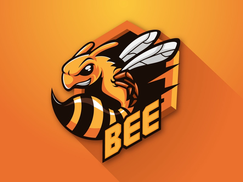 BEE icon animals branding character logotype illustration gaming logo honeycomb honeybee hive design cartoon mascot bee logo