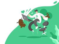 Fiverr Bangladesh group cover Illustration design agency marketplace green dog work job online freelancing flat cover ui character cartoon vector illustration
