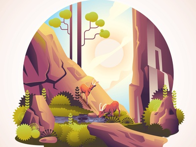 Deer with beautiful Nature mascot gradient hill rock design vector concept art colorful jungle animal trees landscape nature illustration deer