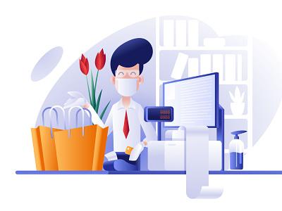 Safely shopping during Covid19 vector salesman shopping bag shopping mall covid mastercard billing digital computer landingpage character safety shop counter shooping illustration