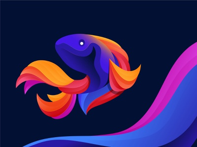 Abstract Fish illustration mascot mascotlogo icon logo branding vector animals dreamy rainbow underwater gradient colorful art abstract illustration fish