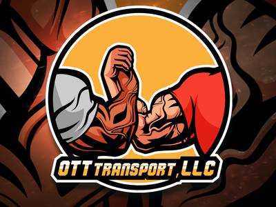 Ott Transport, LLC muscle handshake epic handshake hands character cartoon vector logo illustration mascotlogo