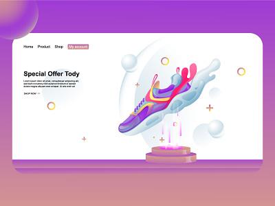 Sneaker special offer homepage vector ui branding illustration shooping market online store website ecommerce landing page homepage offer speacial sneaker