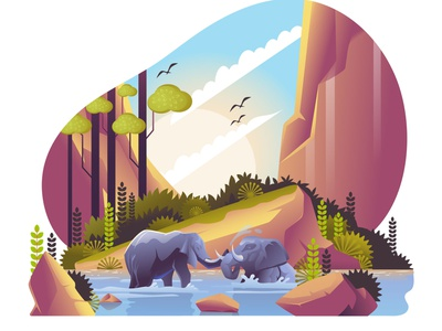Elephants chilling with Nature colorful trees fountain hill forest background gradient nature landscape animal elephant