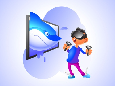 3D VR Funny Cartoon Illustration funny character gradient cartoon shark business branding gaming virtual reality vr 3d illustration