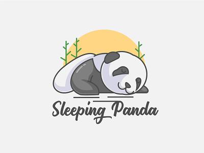 Sleeping Panda panda logo panda animal branding animals mascotlogo mascot logo cartoon character vector mascot logo