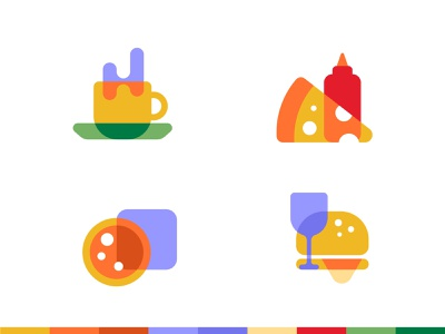 Foods Flat Icon Set food illustration wine glass burger restaurant coffee cup pizza food and drink design trend symbol logo icon food