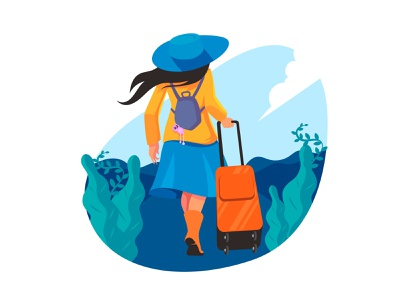 Tour and Travel agency concept Flat Illustration vector minimal flat illustration landscape tourist girl illustration character ui travel branding illustration