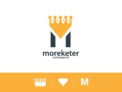 moreketer logo rebranding modern logo gold king crown luxury diamond typography rebranding branding logo design marketer logo lettermark letter