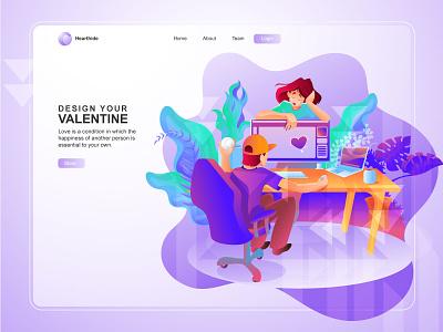 Valentine Landing page concept gradients pink work station desk designer landing page love valentine