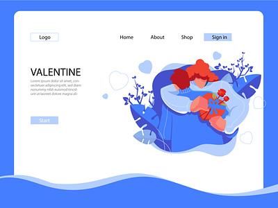 Valentine landing page concept 3 romance holiday character illustration ui branding landing page love valentine day valentine
