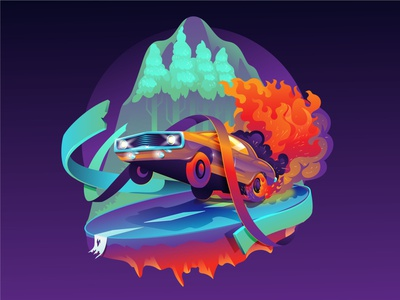 Fire car Illustration hero image ui branding fire abstract illustration auto car