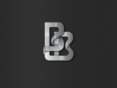 BB logo letter lettermark logo inspiration metalic ribbon chrome icon logo double b bb