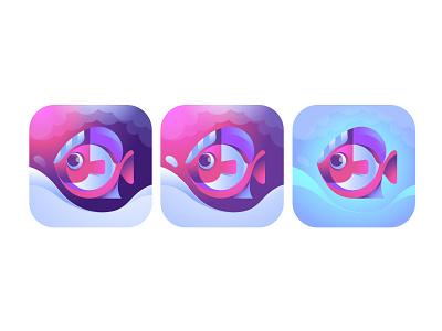 Fish App Icon ui mascot application ios app design symbol illustration logo branding icon app