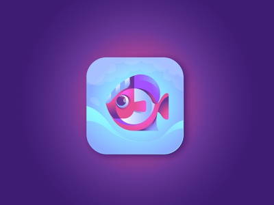 Fish App Icon ui mascot application ios app design symbol illustration logo branding icon app