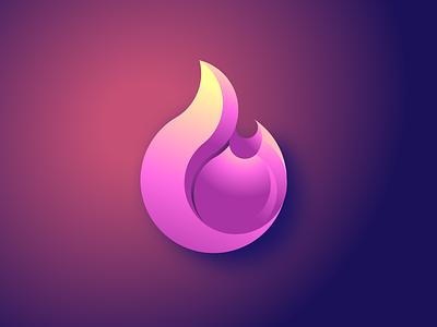 Feminine Fire Logo pink gradient symbol female hot illustration feminine logo fire