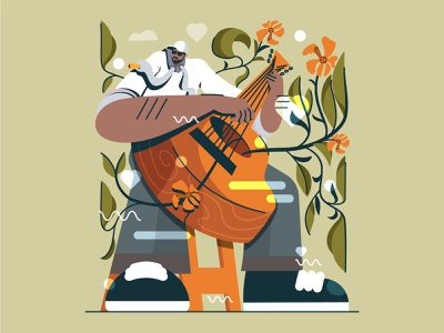 Guitar with Musician Illustration flat song guitar ui character illustration musician musical music