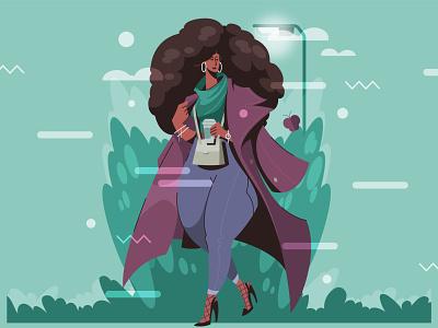 Black fashion women's clothing vector character lifestyle girl women landingpage illustration clothing apparel fashion