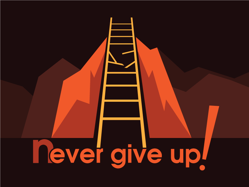 Never Give up 2 flat style illustration design never give up