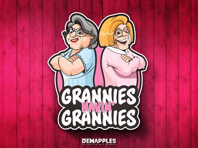 Grannies Havin' Grannies design armcrossed lady woman logo cartoonlogo illustration logodesign mascotlogo mascot havin grannies