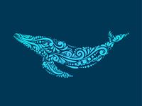 Ornamental decorative whale Logo