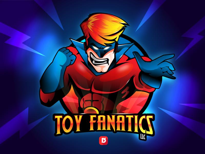 Toy Fanatics rgb vibrant 3d angry fantacy toys mascot logo logo design illustration design character cartoon super hero comic con fanatics toy