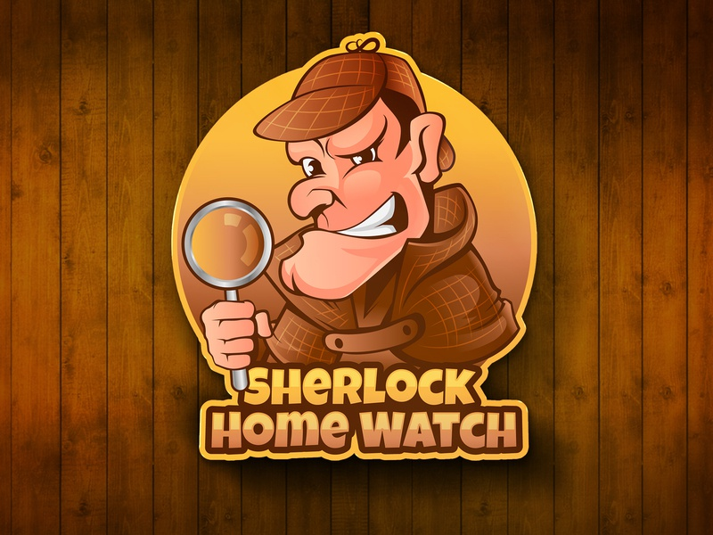 Sherlock Home Watch logo inspiration vector design funny cartoon mascot character home watch sherlock holmes sherlock mascot logo