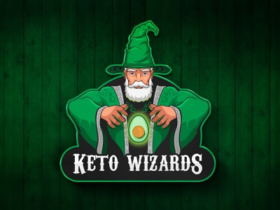 Keto Wizards drawing illustration hat magical green old man magic mascot logos mascot logo character logo logo vector wizard