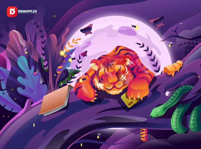 Relaxing Tiger Illustration branding cartoon landing page abstract design sleeping jungle forest snake animals hero image characterdesign dreamy tiger webdesign illustrator ui illustration design