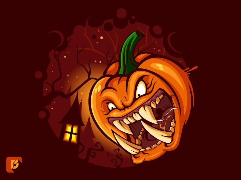 Halloween Pumpkin vector cartoon holyday halloween character mascot illustration vegetable monster pumpkin scary spooky halloween