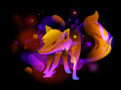 fox fantasy Illustration fire cute animals vector design character hero image stars space fantacy illustration vibrant fox