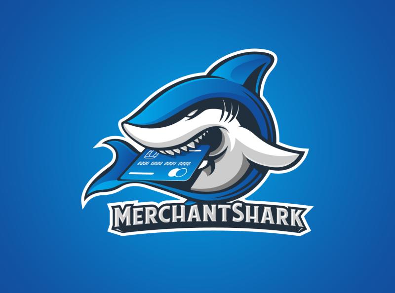 Merchant Shark branding illustration shark icon shark logo credit card blue logo mascotlogo fish animals shark merchant