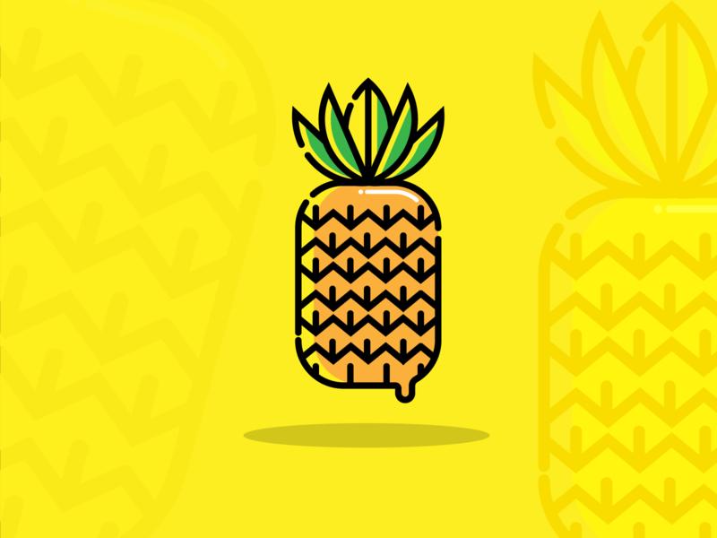 Pineapple icon monogram symbol minimal fruit flat illustration pineapple logo illustration icon