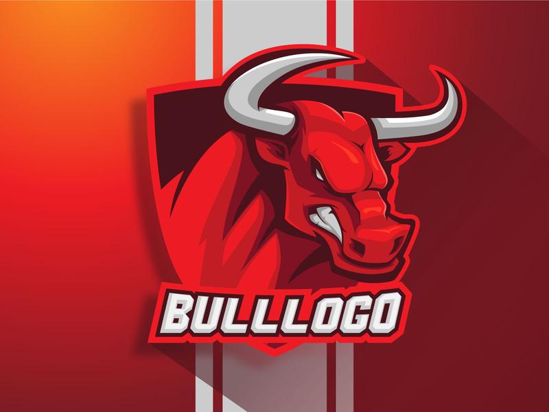 BULL Mascot logo vector illustration sports logo crazy angry horn ox gaminglogo gaming logo logo design mascot logo mascot character animals
