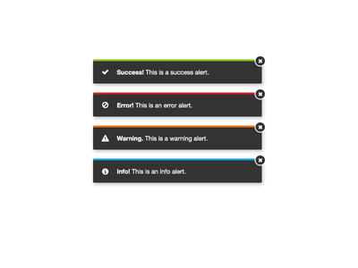User Notifications notifications alerts dark ui messages flat success error warning info