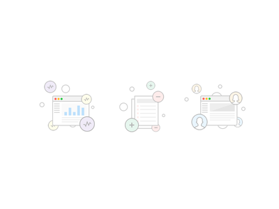 Icons browser user data data rules activity flat icons