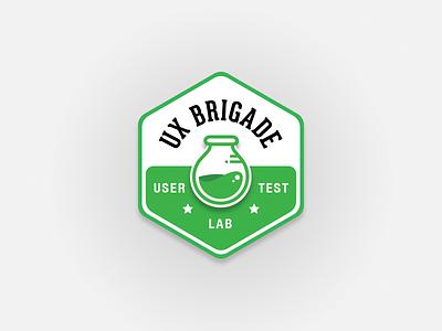UX Brigade - User Test Lab Badge beaker logo badge user lab teting user test brigade ux