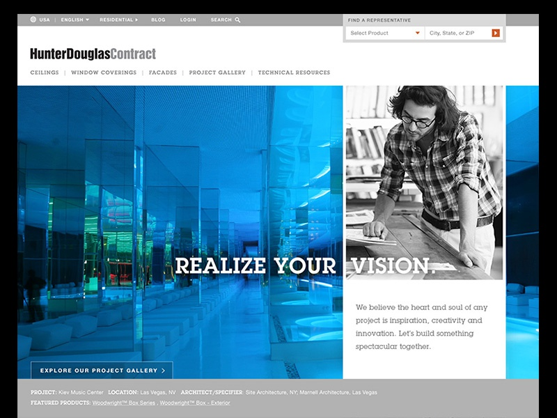HDC – Initial Homepage Design Concepts user interface interior design facades window coverings ceilings architects architecture