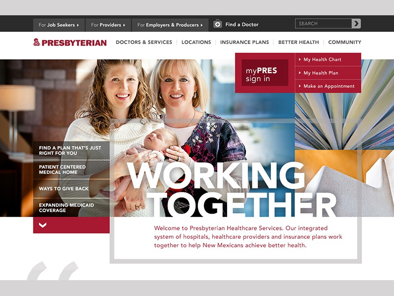 PHS Redesign user interface patients nurses doctors health plans health care health insurance hospitals new mexico