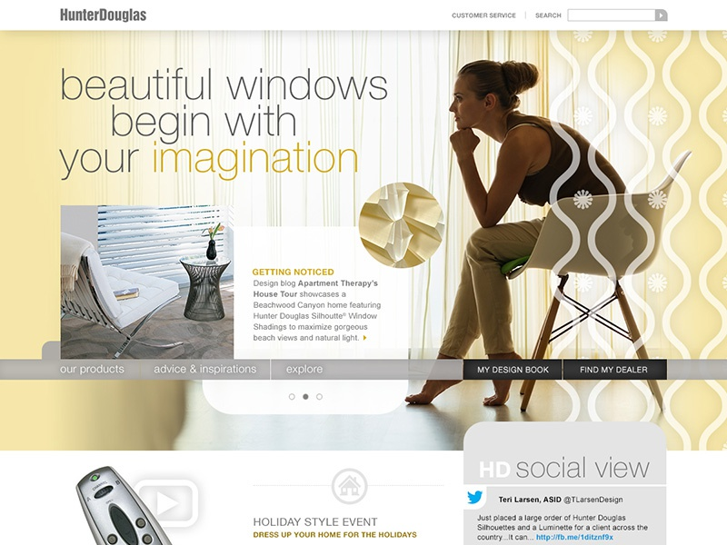 Home Page Redesign Concepts interior design windows pink yellow window coverings feminine user interface home page