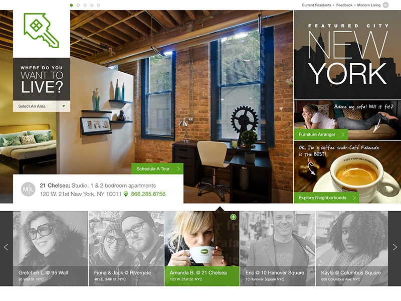 Initial Concept Comps residents mobile user interface responsive design apartments