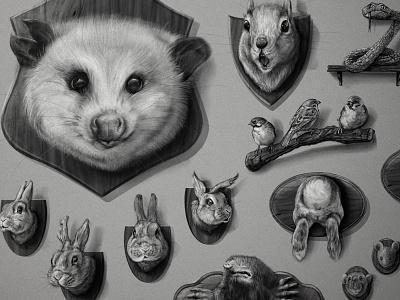 Wrigley's Trophy Wall animal illustration adobedraw adobefresco mount trophy mouse mice bunny rabbit birds snake mole squid opossum