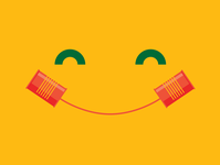 Social Distancing phone happy smile together communication social distance tin can phone