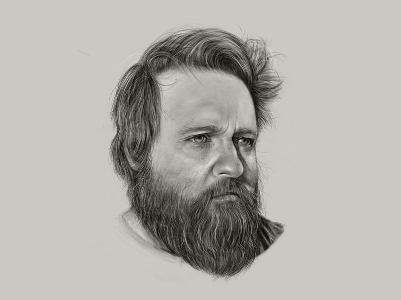 Quarantine Self-Portrait covid portrait hair beard isolation quarantine adobe fresco self portrait
