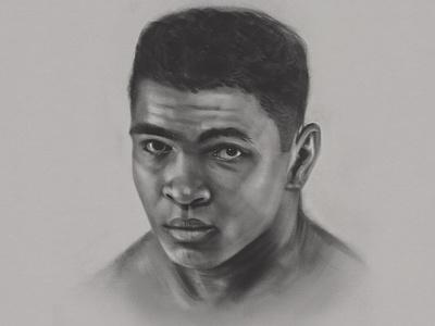 Ali ipad digital charcoal procreate muhammad ali portrait boxer