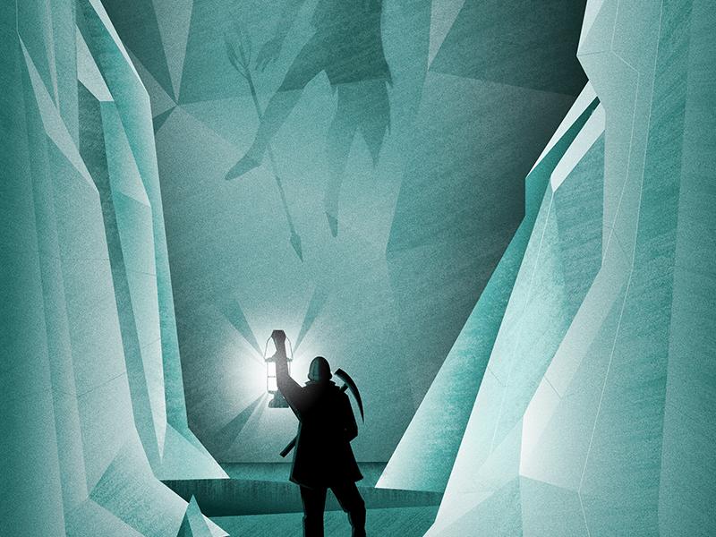 Caveman Miner explorer lantern miner frozen ice caveman